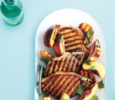 dinner plan: Honey-lime grilled pork chops with peaches
