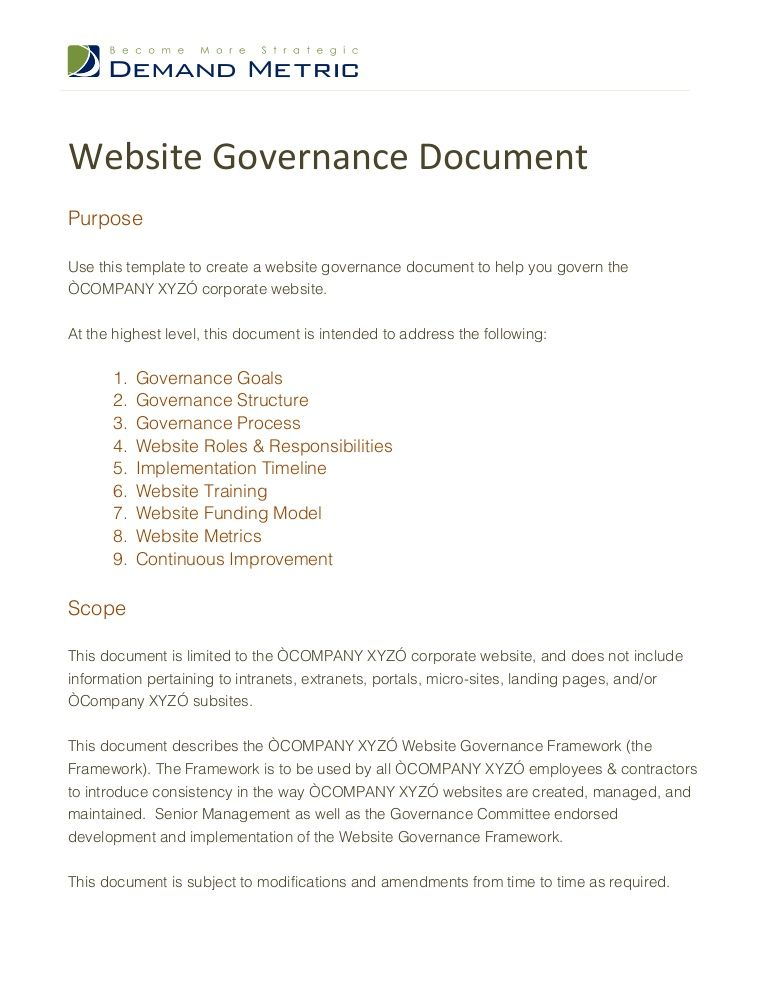 website-governance-document by Demand Metric via Slideshare Work