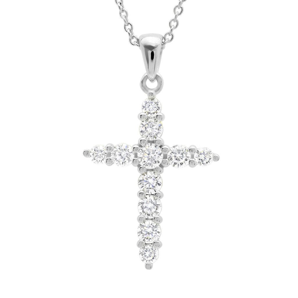 Cz cross pendant finished in pure platinum products crosses and