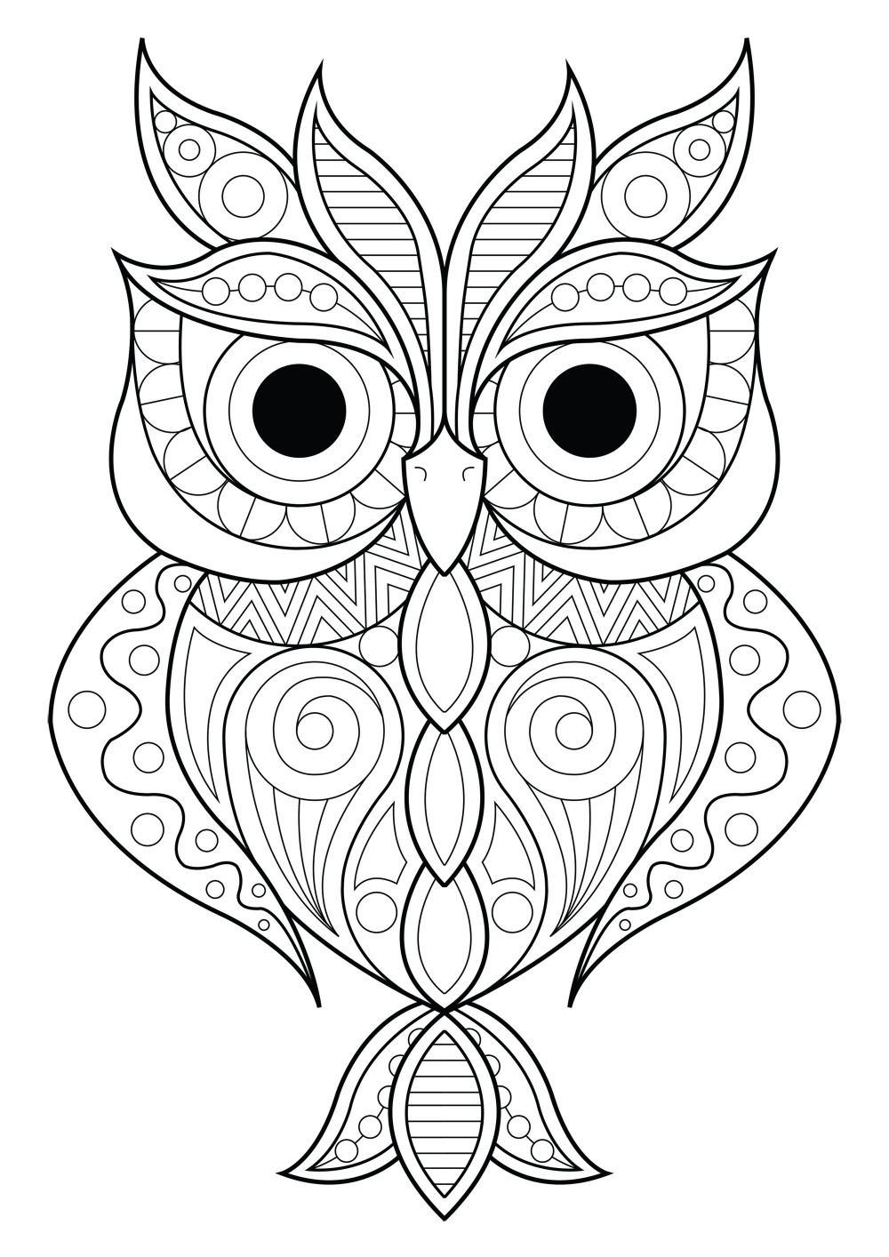 Owl Simple Patterns 2 Owl With Various Different Patterns From The Gallery Owls Artist Lucie Jus Owl Coloring Pages Animal Coloring Pages Owls Drawing
