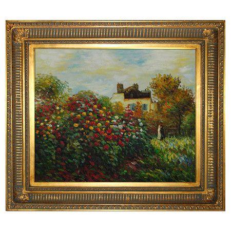 The Artist\'s Garden by Monet Framed Oil on Canvas Reproduction | Art ...