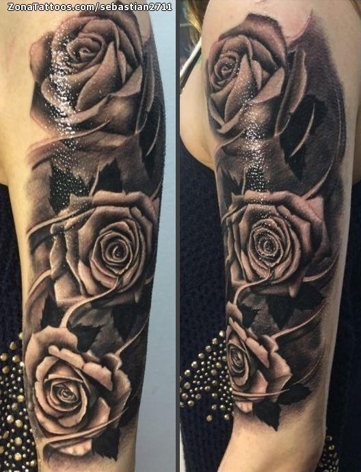 Tatuaje De Rosas Flores Brazo Tatuajes Tattoos Pinterest