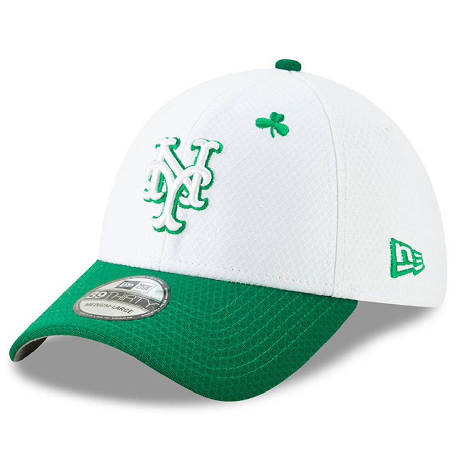 2ef00a209c9b97 Men's New York Mets New Era White/Kelly Green 2019 St. Patrick's Day  39THIRTY Flex Hat, $35.99