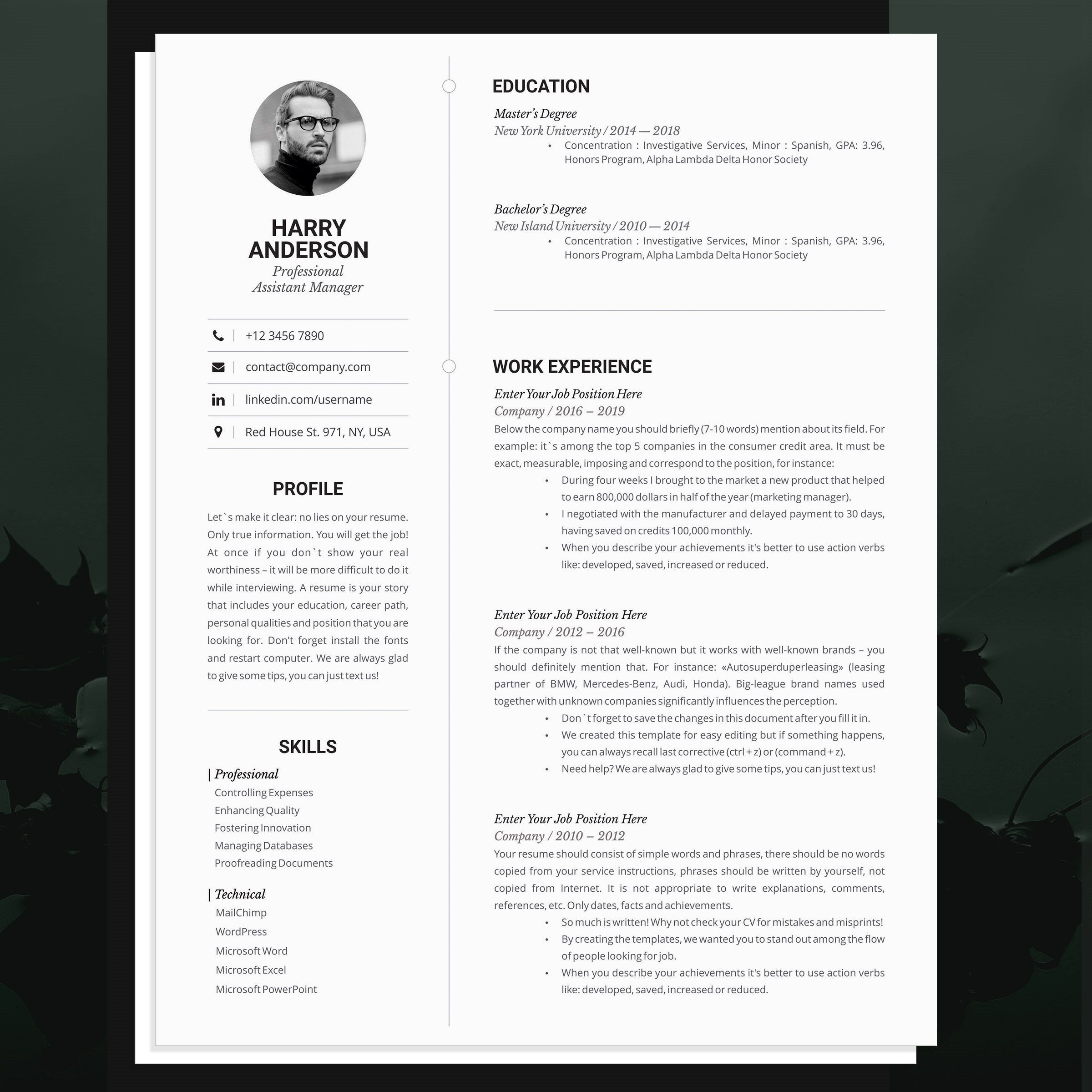 Business Resume Template for MS Word, 1 & 2 Pages Resume