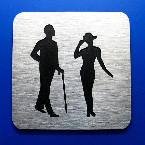 Retro bathroom signs