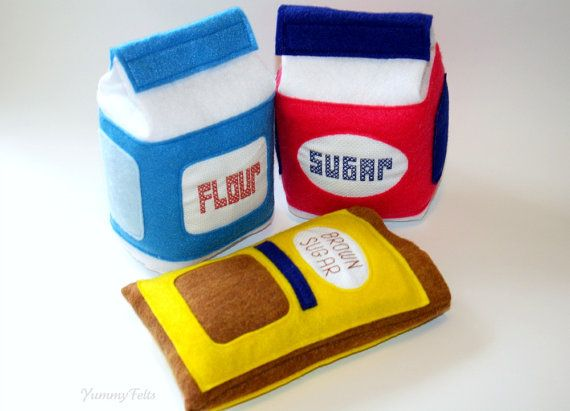 Küchenzubehör Kinderküche ~ Felt food baking set flour sugar and brown sugar felt