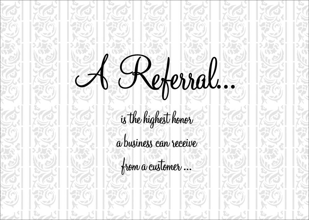 A Referral Thanks | Business, Fields and Salons