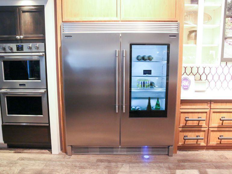 This Frigidaire Fridge Displays Its Contents When You Come Close Glass Door Refrigerator Frigidaire Professional Refrigerator