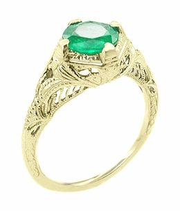 https://www.bkgjewelry.com/sapphire-ring/311-18k-yellow-gold-diamond-blue-sapphire-ring.html Art Deco Emerald Engraved Filigree Engagement  Ring in 14 Karat Yellow Gold. - I want to marry this ring. That's not weird right?