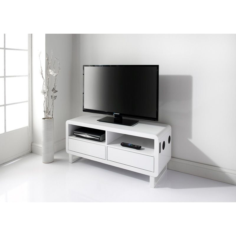 A Contemporary White High Gloss Tv Stand Featuring Sleek Curved