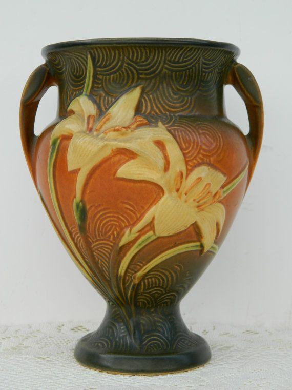 Antique Roseville Zephyr Lily Art Pottery Vase 202 8 In Warm Brown