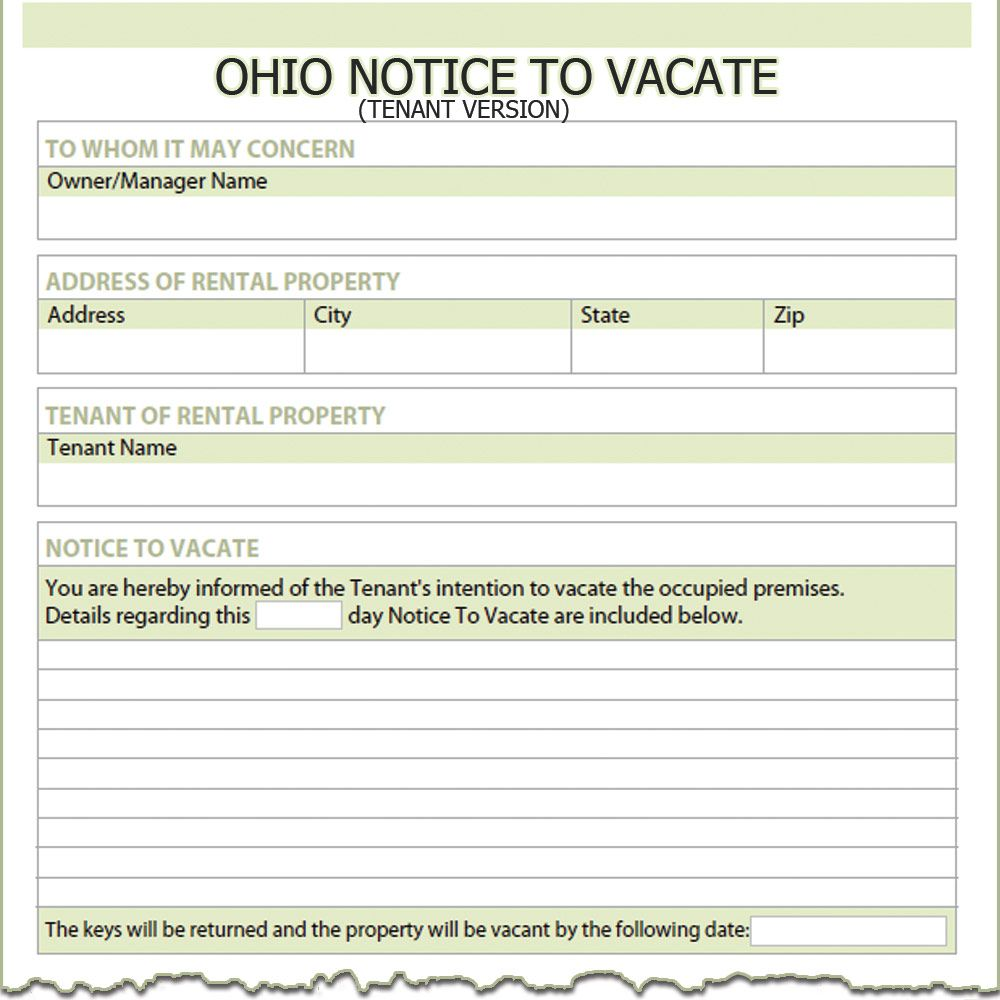 Day Notice Vacate Letter Landlord Ohio Tenant Form Used Tenants