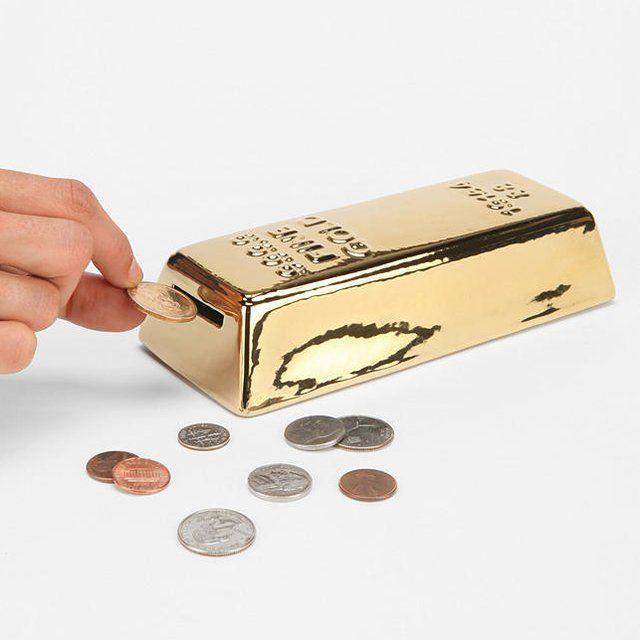 Gold bar bank ($12) #FilthyLIFE piggy bank bank dope stuff dope shit cool stuff gold