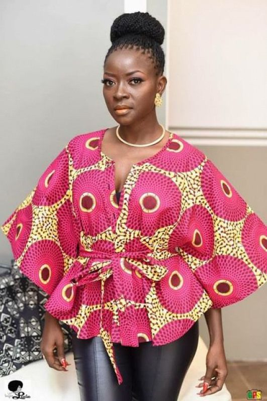 Online Hub For Fashion Beauty And Health: Fabulous And Stylish Ankara Blouse On Jean For The... #africanfashion #african #fashion #tops #afrikanischemode