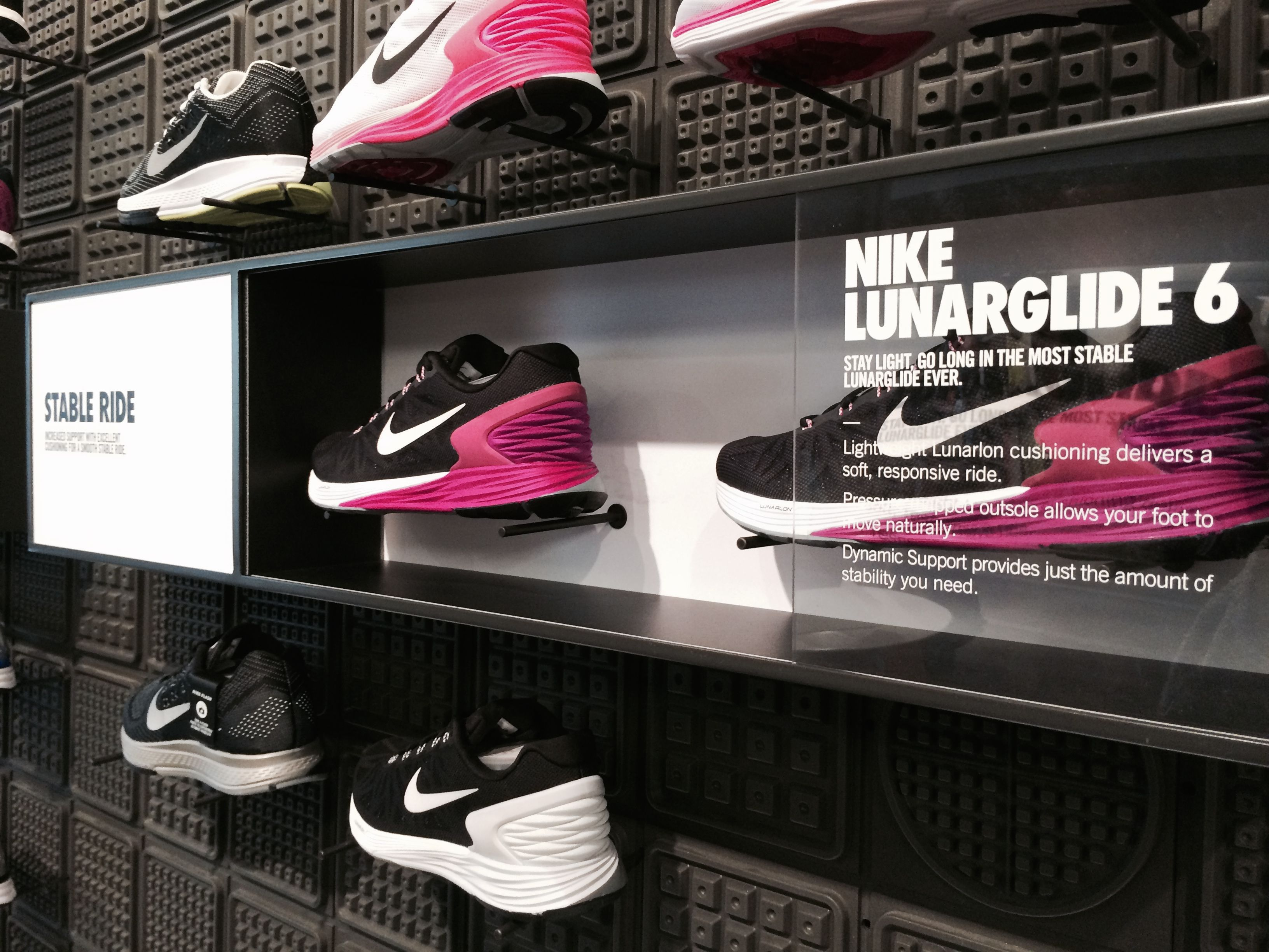 nike store fashion valley SD shoe box on wall