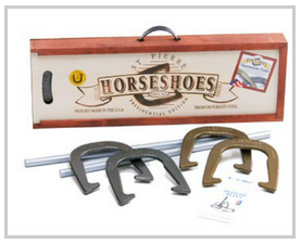 The true horseshoe enthusiast will enjoy the American Presidential Edition horseshoe outfit from St.Pierre Sports. The Presidential Edition features our Premier horseshoe, the American Professional, in a solid, mahogany stained pine box. http://bit.ly/1wv9VOs