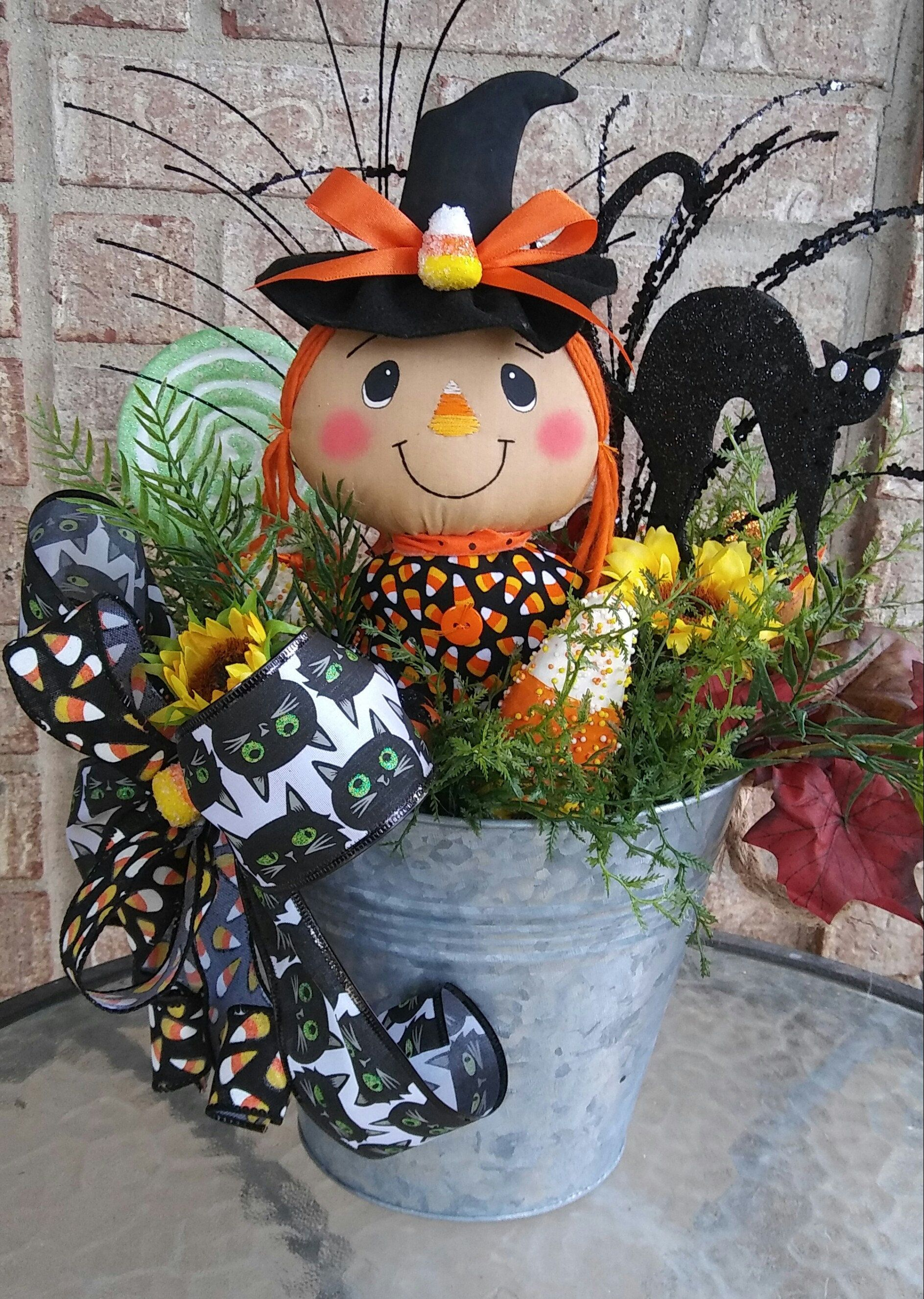 Candy Corn Witch Halloween Centerpiece by KBWreaths on
