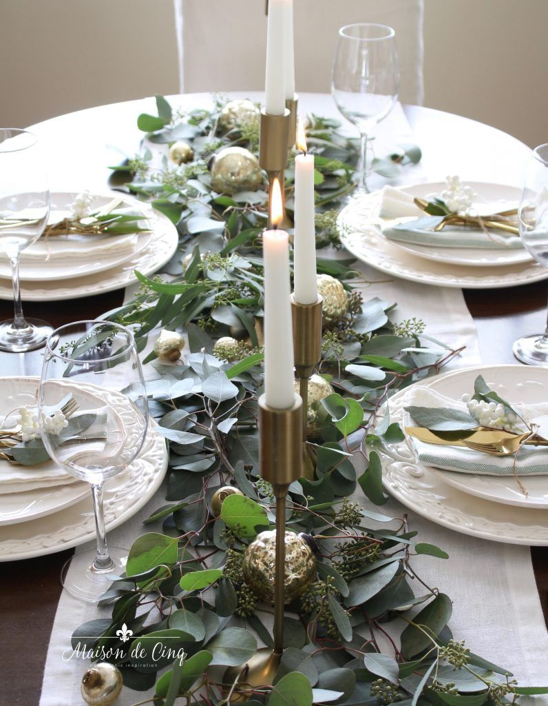 Casual Chic Green And White Christmas Tablescape Green Christmas Decorations Holiday Table Decorations Gold Christmas Decorations