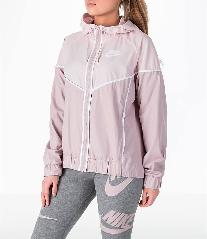 Front Three Quarter view of Women s Nike Sportswear Woven Windrunner Jacket  in Particle Rose White a8ea05b63
