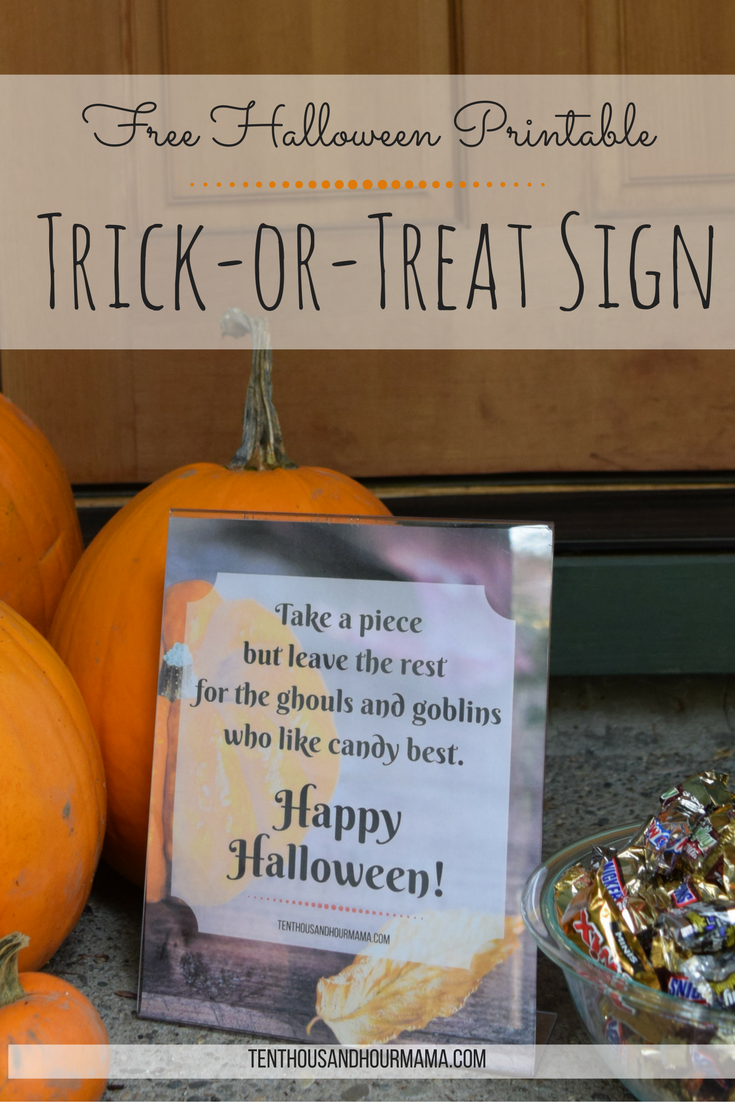 Trick or treat sign Free Halloween printable and download