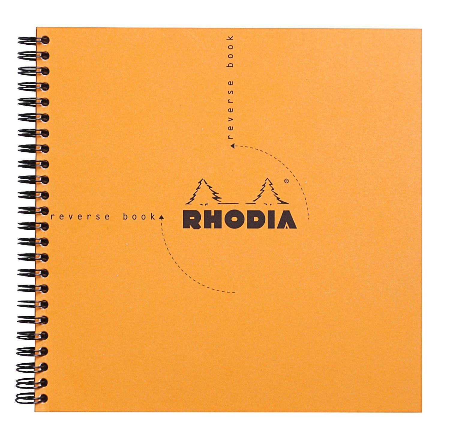 Rhodia Classic Reverse Book, Side Wirebound , Orange Graph, 8 ¼ x 8 ¼
