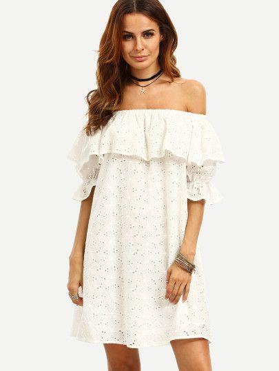 schulterfreies Kleid mit Rüschen - weiß   Klamotten   Pinterest ...