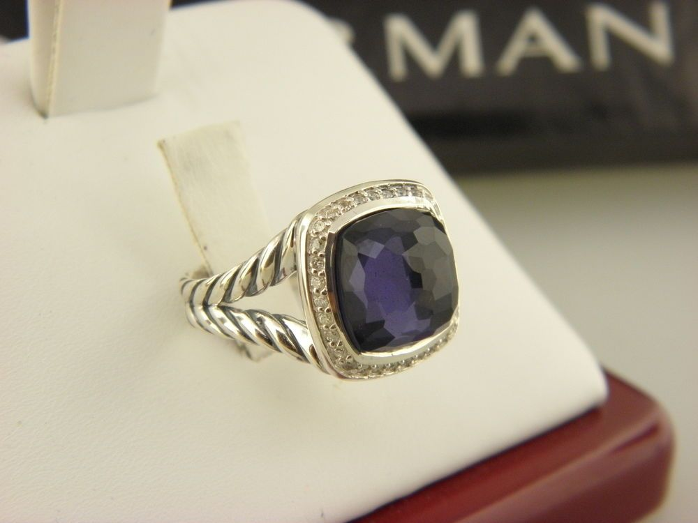 David Yurman Ring with Black Orchid and Diamonds Sz 7 Black orchid