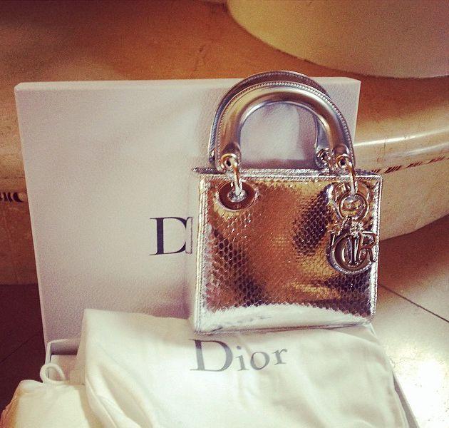 1d74f086d9bd Lady Dior Mini Python Silver Bag