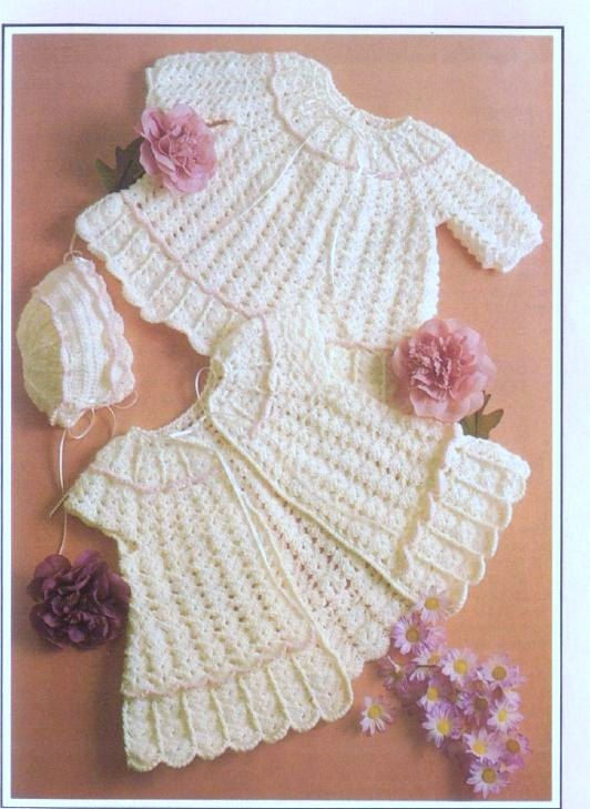 Crochet Pattern - Baby Dress and Sweater/Jacket and Bonnet Bebe - 3 ...