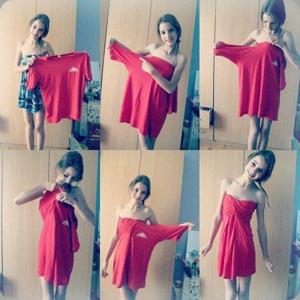 Haz un (precioso) vestido con una camiseta grande.
