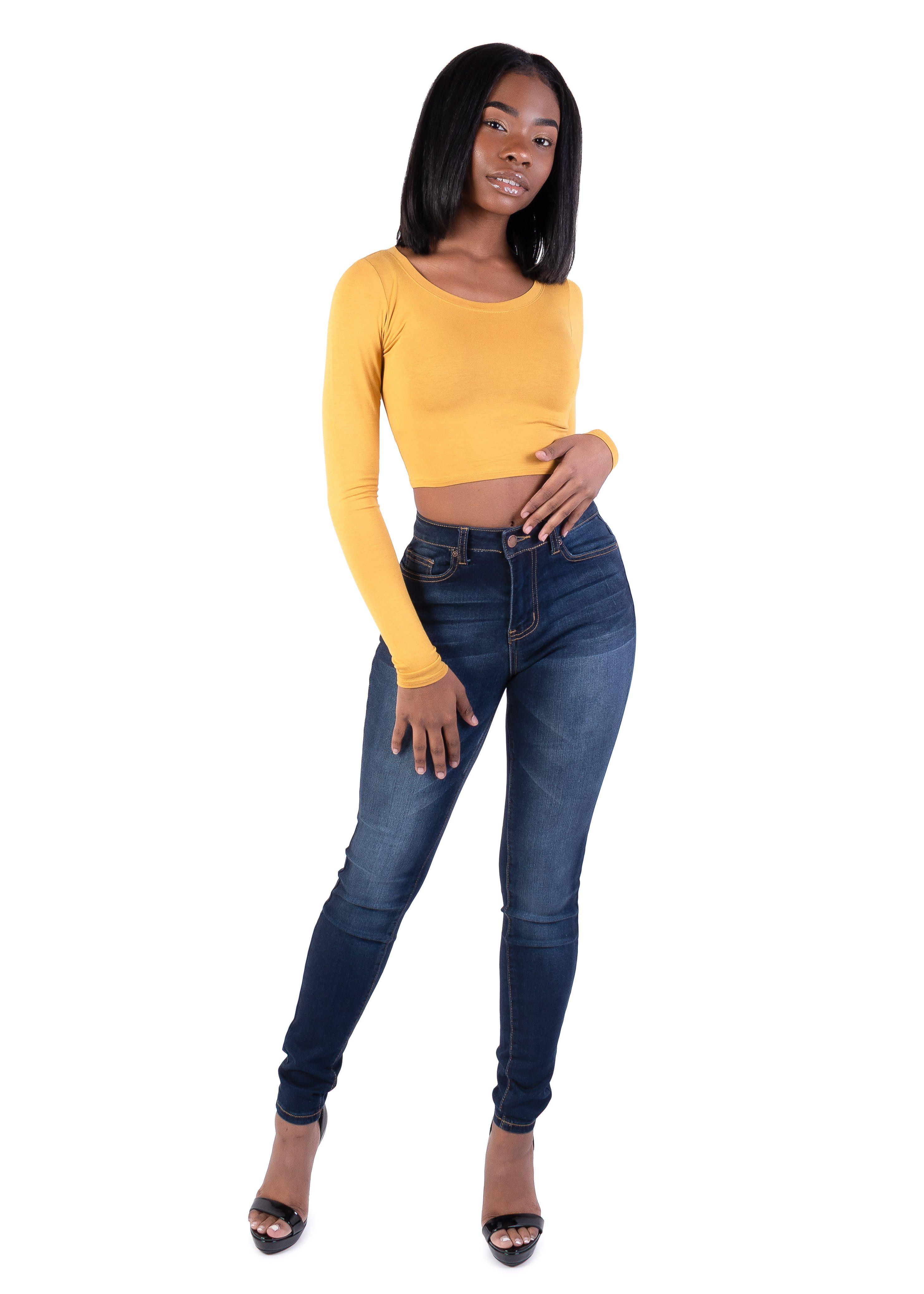 778abca14e0 Plain Round Neck Long Sleeves Crop Top (mustard) $9.99 #fashion #model # croptop #crop #top #sleeves #longsleeves #sexy #turtleneck #heels #trend  #trendy ...