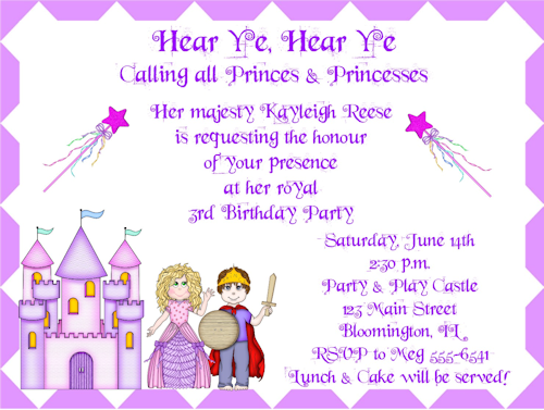 Princess and Prince Birthday Party InvitationsPrincess Prince – Princess and Knight Party Invitations