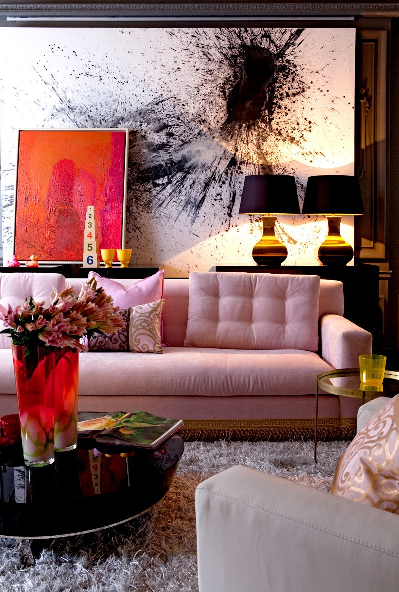 Large Living Room Paintings 9 Pretty In Pink Rooms For Your Feminine Side Artworks Pink