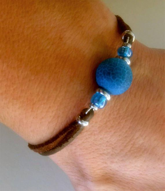 Photo of Bracelet and earrings Blue agate  bracelet Beaded bracelets Jewelry set Blue earrings Blue bracelet Blue stone jewelry Gift Free shipping