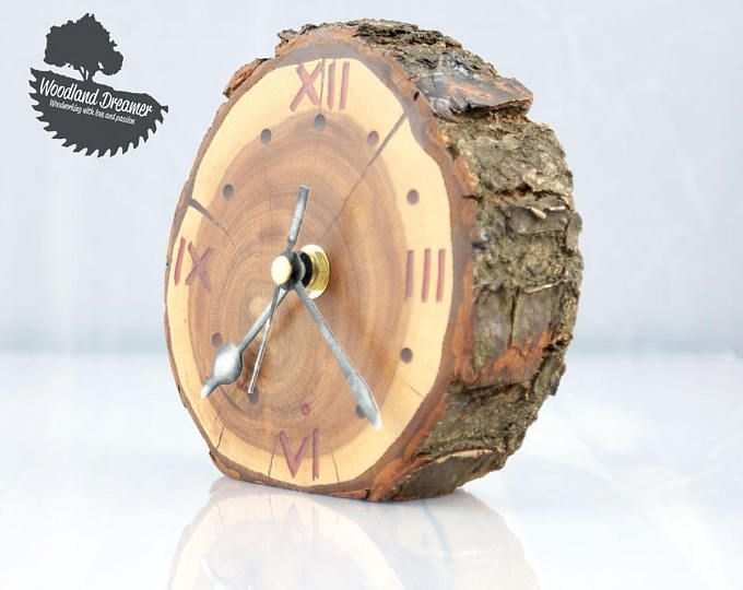 Round Wood Clock Small Round Two Tone Wooden Desk Clock Made Of