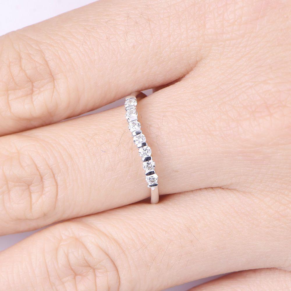 Moissanite wedding band half eternity ring solid 14k white gold ...