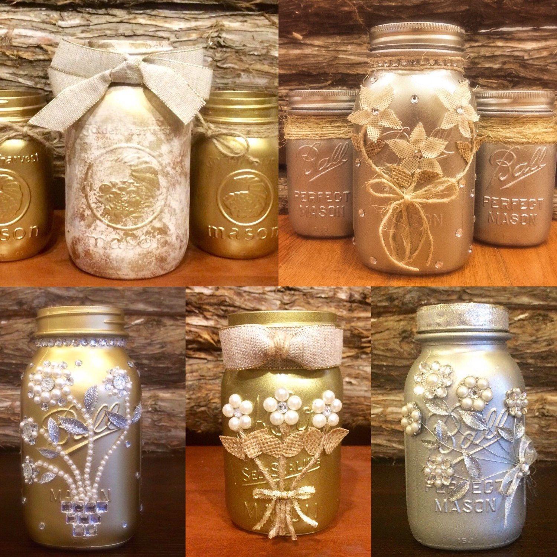 25th Wedding Anniversary Centerpiece Ideas: Silver Mason Jar, Wedding Mason Jar, Silver Wedding Decor