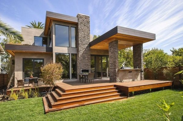 Fassade modern gestalten  Haus Fassade Naturstein Vordach modernes Design | Résidences De ...