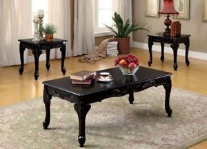 Coffee Table 3 Piece Sets.Coffee Table And End Tables Set 3 Pieces Black Finish Living Room