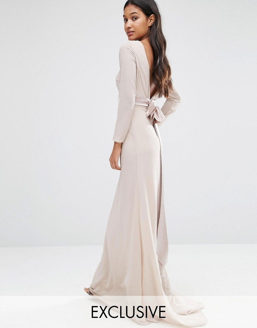 Tfnc maxi dress with fishtail and lace insert camisole