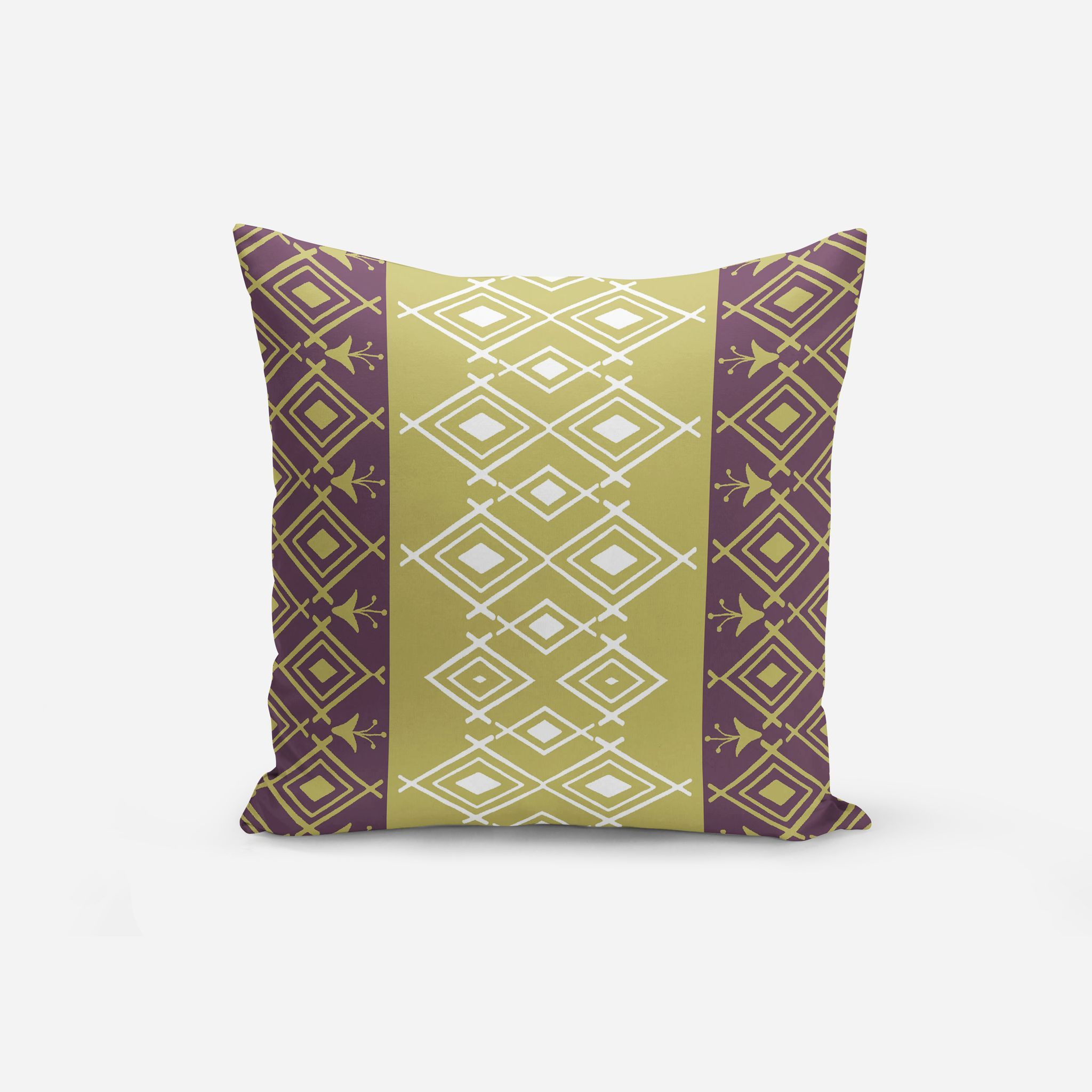 Modern Purple Throw Pillows with Decorative Garnet Red Chartreuse