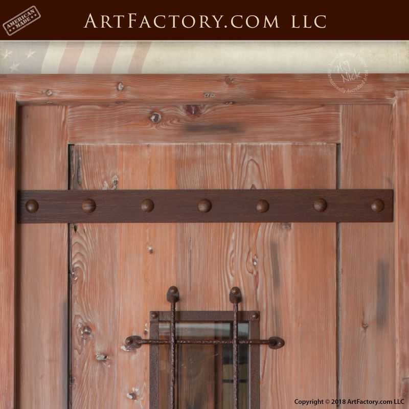 Custom Full Span Strap Decorative Hand Forged Iron Door Accents Iron Doors Accent Doors Wrought Iron Doors