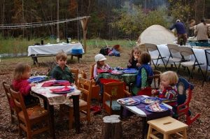 Little tables for the kids -- Broadfork Farm pizza night