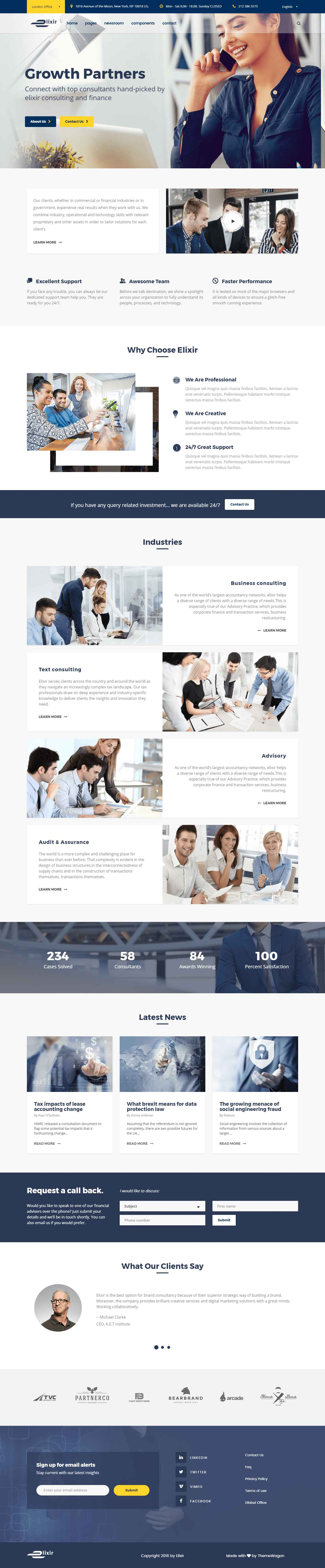 elixir elegant html5 bootstrap template for consultancy agency