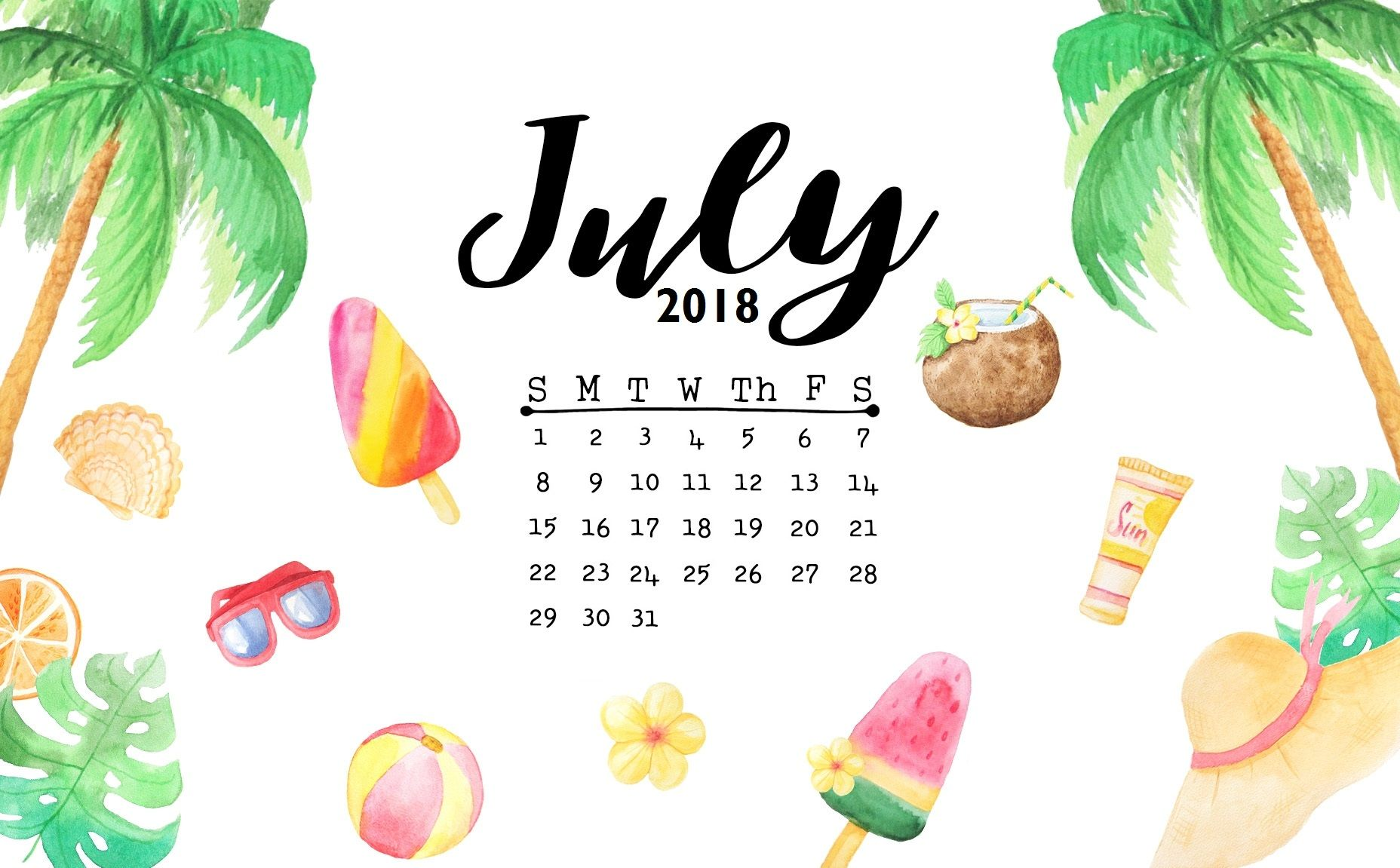 Cute July 2018 Calendar Wallpaper Jpg 1 856 215 1 151 Pixels