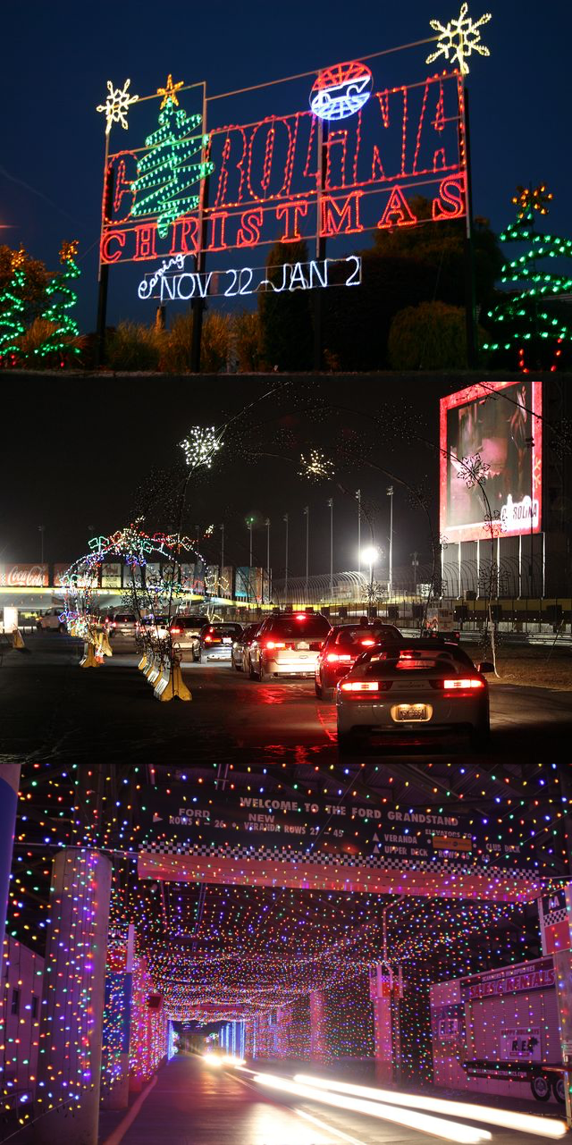 charlotte motor speedway hosts speedway christmas a drive through holiday light show with more than 3 million lights over a 375 mile course - Lowes Motor Speedway Christmas Lights