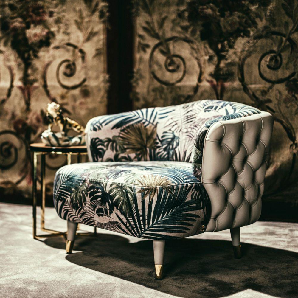 Magnificent Leather Button Upholstered Designer Botanical Print Tub Unemploymentrelief Wooden Chair Designs For Living Room Unemploymentrelieforg