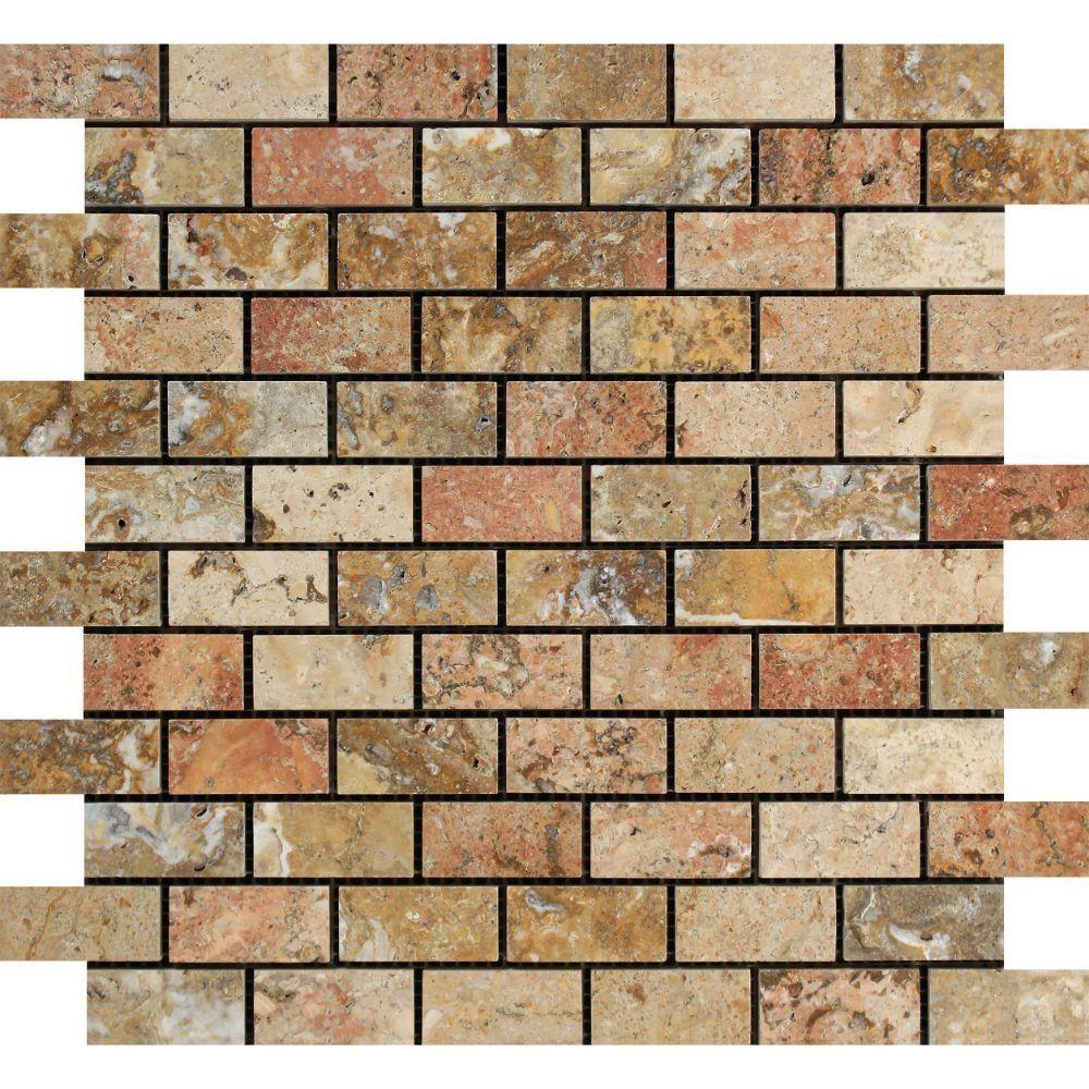 1 x 2 Polished Scabos Travertine Brick Mosaic Tile Sample