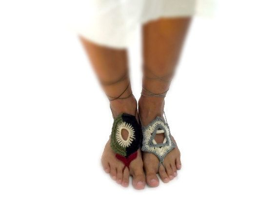 A message of peace- Crochet Palestine and Israel barefoot Sandals,