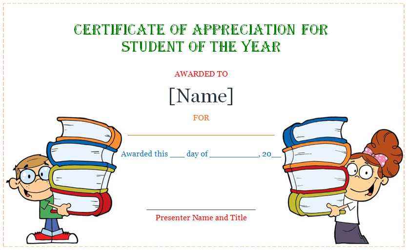 CertificateOfAppreciationForStudentOfTheYearWww